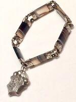 Fantastic Antique Scottish Silver & Polished Agate Bracelet Silver Padlock Clasp