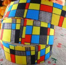 RUBAN GROS GRAIN IMPRIMÉ ** 22 mm ** Carré Géométrique Multicolore - au mètre