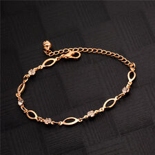Fashion Women Gold Plated Leaf Bangle Crystal Elegant Chain Bracelet Jewelry