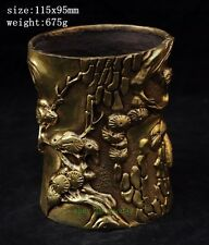 Chinese Folk Brass pied magpie Bird plum blossom Flower Brush Pot pencil vase