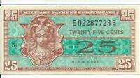 Series 521 25 Cents Military Payment Certificate MPC Note Currency CH AU #23E