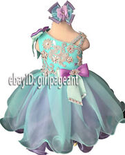 Infant/toddler/baby Blue Gliz Crystals Bows Formal Pageant Dress G066C