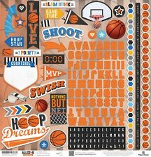 """PAPER HOUSE BASKETBALL SPORTS 12""""X12 CARDSTOCK SCRAPBOOK STICKERS"""