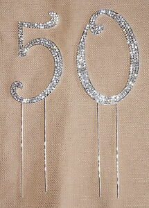 CRYSTAL RHINESTONE 50th ANNIVERSARY CAKE TOPPER TABLE NUMBER MISSING DIAMONDS