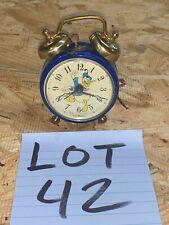 Vintage WORKING Disney DONALD DUCK Phinney Walker Alarm Clock BLUE READ