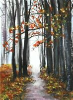 Original Forest road Autumn Fall tree ACEO landscape miniature painting art card