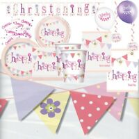 Pink Bunting Christening Party Supplies Tableware, Decorations & Balloons