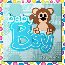 BABY BOY BEAR  Paper Piecing Embellishment card toppers and scrapbooking