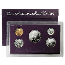 1990 S , US MINT PROOF SET - WITH BOX & COA , 5 COINS!