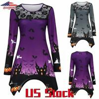 Women Asymmetric Blouse Halloween Printed Tops Lace Neck T-Shirt Casual Party US