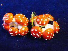 "Vintage Spun Cotton Mushroom 12 Red Polka Dot 3/4"" 18mm German Millinery Eh2C"