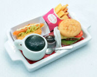 Dollhouse Miniature Food Burger with Hot Dog,and Coffee,Tiny Food 1:12 Scale