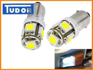 LED 12V Sidelight Bulbs-NON POLARITY BA9S, GLB233, GLB989  White Classic Car x2