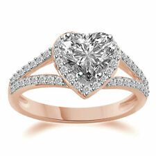 1.80CT Heart Cut Solitaire Wedding Ring 10k Rose Golds Womens Day