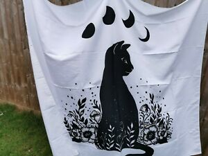Cat Moon Tribal Witch Bohemian Flower Black and White Wall Hanging UK Seller NEW