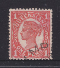 Qld: 1897-1911 4Th Sideface Qv 1d Red Sg232 V.F.Used