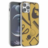 For Apple iPhone 12 Pro Max Silicone Case Hipster Barber Grooming - S1163