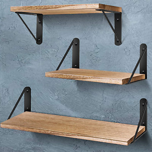 AIBORS Floating Shelves for Wall, Rustic Wood Wall Shelves Decor Set of 3 for Be