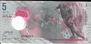 MALDIVES 5 Rufiyaa ?? P- A26; Beautiful Note ** POLYMER ** ?? Soccer Player