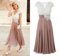 Plus Size Mother Of The Bride Dress Chiffon Party Dress Tea Length Wedding Gowns