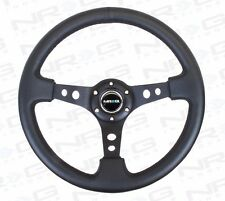 "NRG Steering Wheel 06 BLACK Leather BLACK Stitch Trim Spoke 350mm (3"" DEEP DISH)"