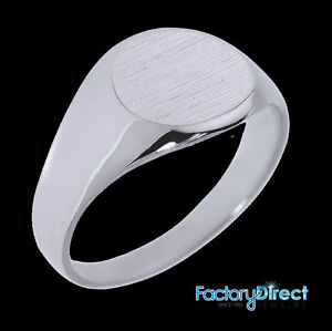 Solid White Gold 8.4 mm Round Engravable Men's Signet Ring