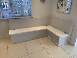 Modern High Gloss White  banquette seating L Shape