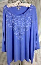 NEW ~ S M L  Purple Blue Pearl Stud Top Shirt Blouse