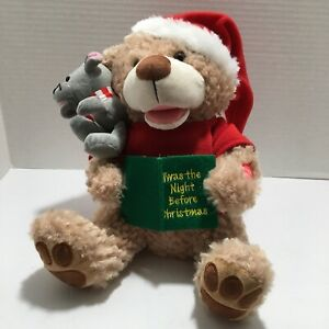 "Chantilly Lane 12"" Bear Mouse Twas The Night Before Christmas Reads Story Video"