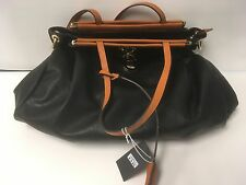 ERALU NEW FASHION BLACK FAUX LEATHER HANDBAG PURSE WITH TAN TRIM