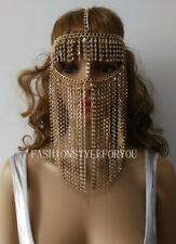 Fashion HE67 Women Gold Rhinestone Chains Layers Mask Face Head Chains Jewelry