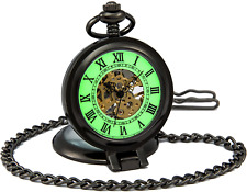 SEWOR Vintage Gentleman Mechanical Hand Wind Pocket Watch Luminous Dial Glass up
