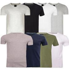 Mens Plain T-Shirt V Neck or Grandad Collar Summer Casual By Threadbare