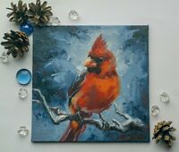 "Angy Bird oil painting 6"" Pet portrait Animal by S.Lee Mark Cardinal"