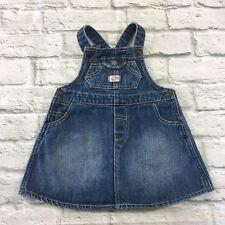 Ralph Lauren Baby Girl Denim Overall Dress Size 9 months Snap Ruffle Cotton