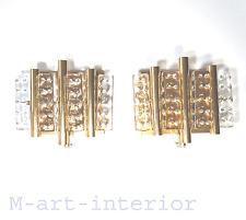 Scandinavian Design Sconce Set Gilt Brass & Ice Glass by Hans Agne Jakobsson