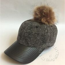 bfdb7295404 Herringbone Wool Blend FauxFur Pom Pom Faux Leather Visor Baseball Hat Cap  Black