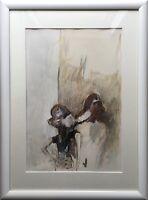 KARIN WITTE *1939  HAMBURG PAAR 2 FIGUREN 76 X 56 CM GOUACHE MODERN GERMAN ART