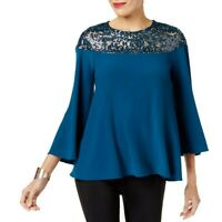 ALFANI NEW Women's Sequined Bell Sleeve Swing Blouse Shirt Top TEDO
