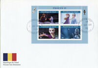 Chad Disney Stamps 2019 FDC Frozen 2 Elsa Olaf Cartoons Animation 4v M/S I