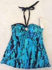 Liz Lange Maternity Small Tankini Swimsuit Top Smocked Halter Turquoise NWT