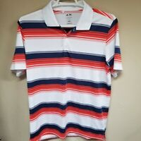Adidas Puremotion Men's Multicolor Stripes Short Sleeve Golf Polo Shirt Large