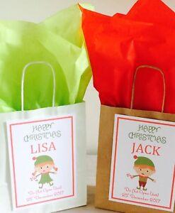 Personalised Christmas Gift Bag & Tissue Paper (Magic Elf Design)