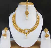 Ethnic Indian Dulhan Jewelry Necklace Earrings Gold tone Bridal Polki Pearl Set