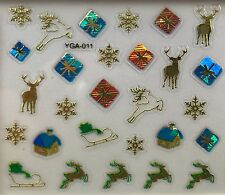 Nail Art 3D Decal Stickers Christmas Presents Reindeer Sleigh Snowflakes YGA011