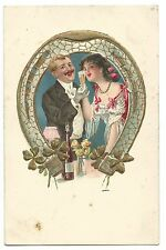 Art Nouveau Romantic Postcard, Unposted, Couple in Lucky Horseshoe W Shamrocks