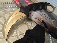 Honshu Gold Stonewash Ninja Karambit Dagger Combat Claw Knife Full Tang CSGO