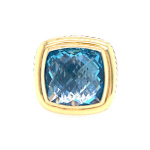 David Yurman Sterling Silver and 18KY Blue Topaz 17mm Ring
