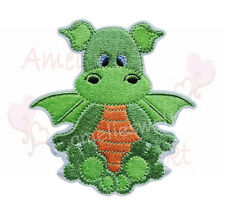 Drache grün orange Aufbügler Aufnäher Bügelbild Patch Sticker dragon patch dino