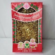 Vintage Gold Tinsel Garland Pink Green Box Santa Graphics 50 Feet Usa